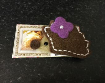 Wool felt Hedgehog brooch