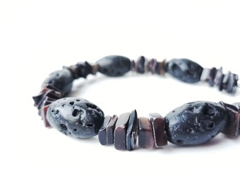 Men's black lava stone bracelet - shell bracelet for men - Mauna Loa