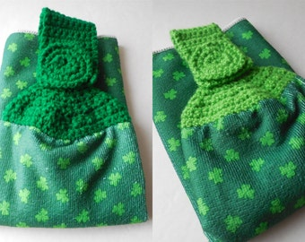 Shamrock Hanging Towel - St. Patricks Day - Green Crochet Top - Handmade Crochet - St. Patricks Day Decor - Made to Order