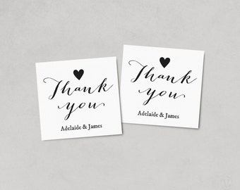 Thank You Favor Tags, Printable Wedding Favor Tag Template, Thank You Tag, Kraft Favor Tags, Instant DOWNLOAD, EDITABLE Text, 2x2, FT05