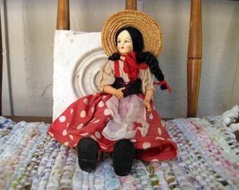 Vintage Doll Italy Lenci Type Molded Country Girl Folk Doll Cloth