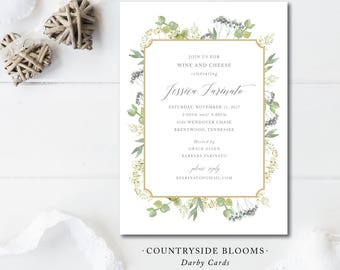 Countryside Blooms Printed Invitations | Rehearsal Dinner or Bridal Shower | Printed or Printable by Darby Cards