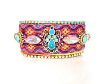 Swarovski Crystal Friendship Bracelet,Christmas,Jewelry,Beaded Cuff,bohemian indian gypsy style,Ethnic boho aztec fashionista,Made to Order