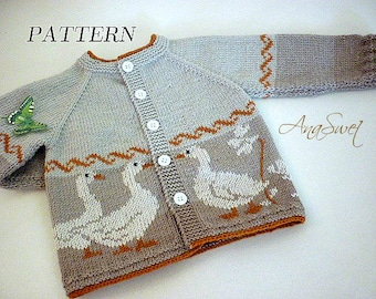 Knitting pattern.Cardigan with geese.P043