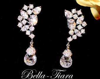 bridal drop earrings, crystal drop earrings, wedding earrings, bridal jewelry, cz wedding earrings, crystal bridal earrings