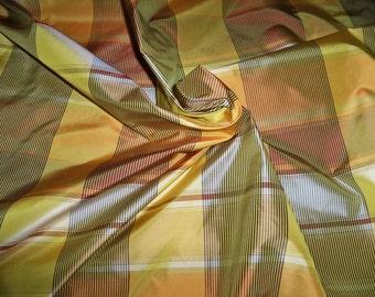 PASARI IRIDESCENT MANGO Check Plaid Silk Taffeta Fabric 32 yards