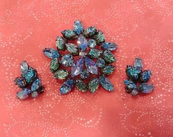 Vintage Regency Floral Brooch and Earring Set
