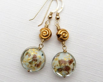 Handmade Murano Venetian Glass Gold Earrings