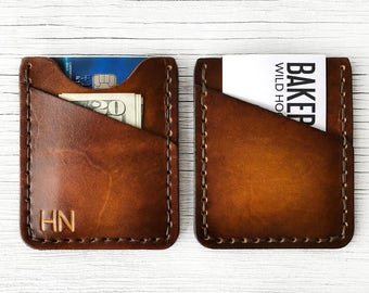 Brown Personalized Leather Wallet, Front Pocket Slim Wallet - BUY IT ONCE - Custom Initials Mens or Womens Wallet,  Thin Minimalist Wallet