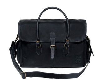 Black Leather Weekend Bag - Leather Holdall - Leather Overnight Bag - Weekender *Personalised* by MAHI Leather