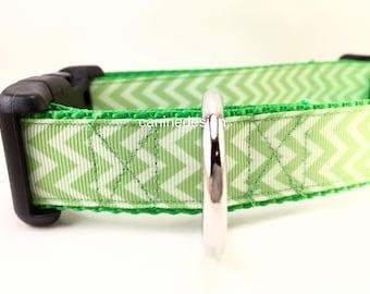 St Patricks Dog Collar, Light Green Chevron, 1 inch wide, adjustable, quick release, metal buckle, chain, martingale, hybrid, nylon