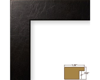 Craig Frames, 18x24 Inch Black Leather Picture Frame, Bauhaus 1.25-Inch Wide (260931824)