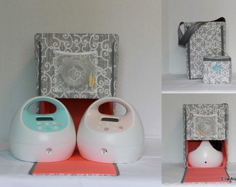 Half Size Ella style Spectra Breast pump bag in PP Pamey Lt Gray
