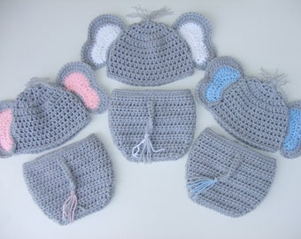 Crochet Baby Elephant Hat & Diaper Cover, You Pick Size and color, Photo Prop, Ready to Ship
