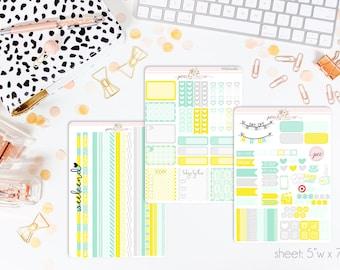 Mint Lemonade HORIZONTAL Weekly Kit // 130+ Matte Planner Stickers // Perfect for your Erin Condren Life Planner // WKH0080