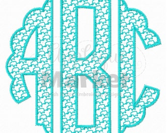 Machine Embroidery Design Embroidery Scallop Circle Monogram Patterns-Elephant Font INSTANT DOWNLOAD