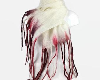 Felted scarf, merino wool scarf, white with red tassels, fashion scarf, long scarf, womens fashion, shawl, wrap, wet felting
