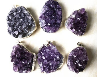 Beautiful Amethyst Necklace, Silver Amethyst Druzy Quartz, Natural Amethyst Crystal Cluster Pendant with Silver Plated FS06