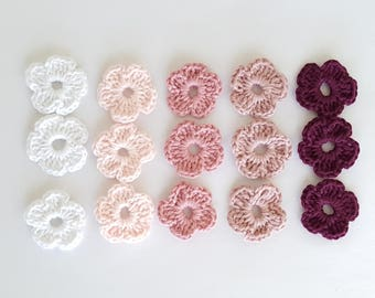 Small Crochet flowers #3, Baby shower favors, Colorful wedding decorations, Valentines day flowers, nursery room
