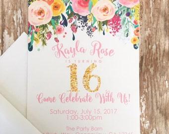 12 floral sweet 16 birthday invitations, printed 16th birthday invitations, gold glitter flower invites, sixteenth birthday floral invites