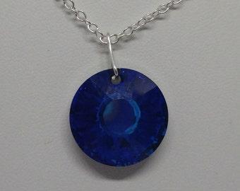 Sterling Silver Swarovski Crystal Bermuda Blue Sun Necklace