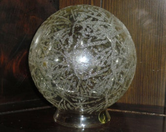 Vintage MidCentury Hollywood Regency Clear Glass Glitter Speckle Ball Orb Globe