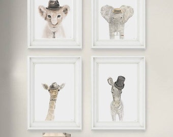 Safari Nursery Prints - Top Hats Set of 4