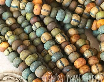 "Painted Sky 2 - Aged Striped 6/0 Czech Glass Rocaille Seed Beads - 20"" strand - 4mm - Bohemian Matte Opaque Picasso - Central Coast Charms"
