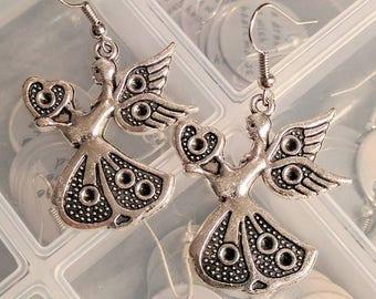 Angel Earrings - Christmas Earrings - Silver Earrings