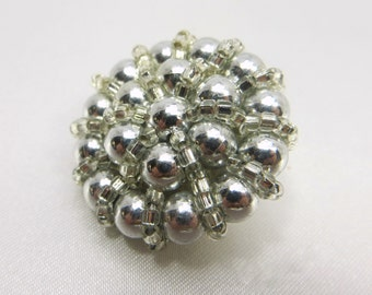 Grey Pearl and Silver Glass Seed Beads Large 30mm Buttons