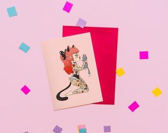Tattooed Cat Lady Card