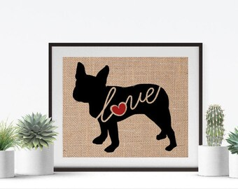 Boston / Bull Terrier - Burlap Wall Art Home Decor Print for Dog Lovers - Black Dog Silhouette - Can be Personalized (More Breeds) (101s)