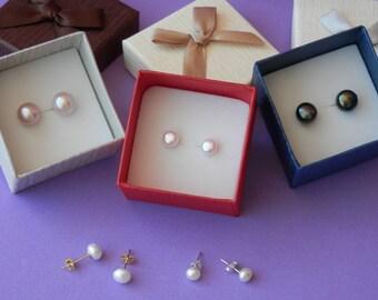 bridesmaid gift, pearl earrings,Bridesmaid Pearl Jewelry Set, bridesmaid earrings, freshwater pearl earrings, white pearl earrings wedding