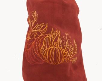 Autumn colour leather bag cornucopia embroidery horn of plenty fall fashion drawstring bucket bag lrp boho shoulder fantasy warcraft costume