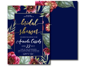 Navy Blue, Burgundy and Gold Floral Bridal Shower Invitation, Peony, Greenery, Gold, Foil, Bridal Shower, Kitchen Tea, Invite (Azure)