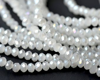 10 oval beads faceted size 4 x 3 mm white opaque reflection