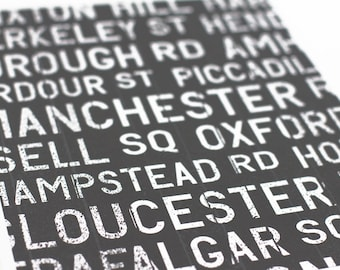 London Bus Roll Art Print / UK Poster Transit Sign / City Art Typography Print / Choose your Color