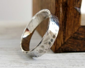 Engraved Ring, Personalized Message Ring, 4mm Hammered Ring, Sterling Silver, Personalized Gift