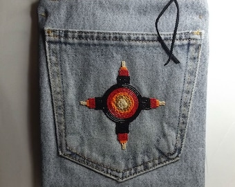 Cross body cell phone pocket bag. Hand beaded Native America zia design. Denim shoulder bag.