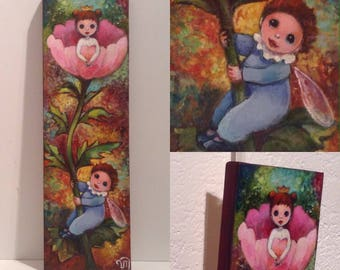 """Painting on wood titled """"Once upon a time"""". Princess, fairy, Celtic,"""