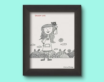 Card, Drawm wishing card, Black & white card, Hand made, Gula design