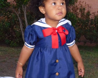 Sailor Dress for Girl,  Baby Girl Sailor Dress, Sailor Hat, Sailor Outfit for Baby, Clearance Item