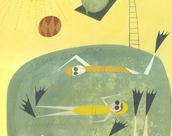 Swimming.  Limited edition print by Matte Stephens.