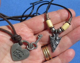 Lot Of Retro Black Rope Necklaces Acro Heart Key Metal Arrowhead TLC