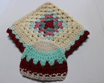Baby Granny Square Blanket and NB Hat Set