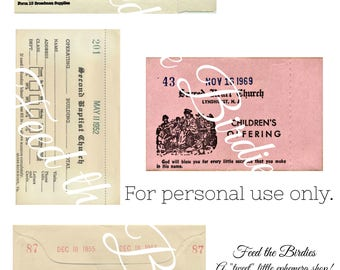 Ephemera Vintage Church Offering Envelopes Digital File