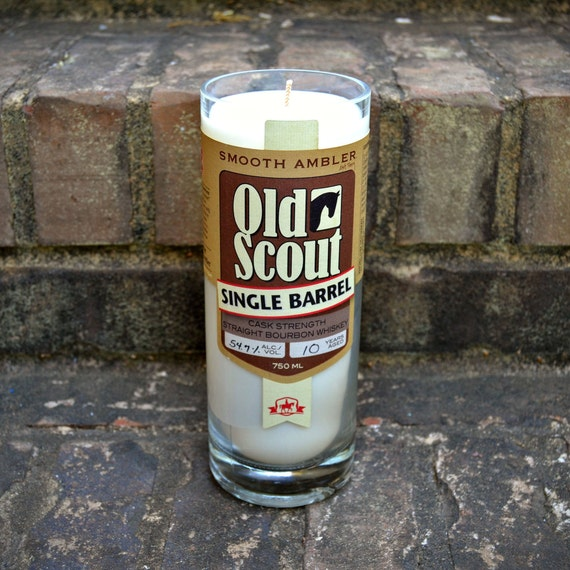 READY TO SHIP - Old Scout single barrel bourbon whiskey bottle candle made with soy wax