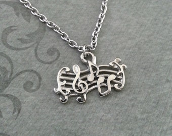 Musical Notes Necklace, SMALL Music Notes Necklace, Classical Music Necklace, Musician Gift, Music Gift, Sheet Music Necklace Music Jewelry