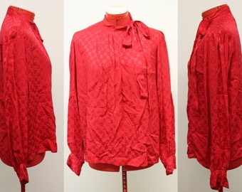 VTG 1980's Red Oleg Cassini Long Sleeve 100% Silk Blouse/Buttondown/Size 14/Size XL/Glam/46 inch Bust/Career/Party/High Fashion/Event/Pinup