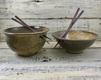 Pottery, Wheel Thrown Ceramic Stoneware Rice or Noodle Bowls Set of 2